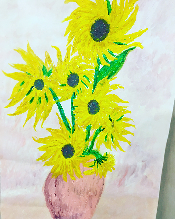 <b>Sunflower Crazy</b><br>23x13inches<br>Acrylic on canvas